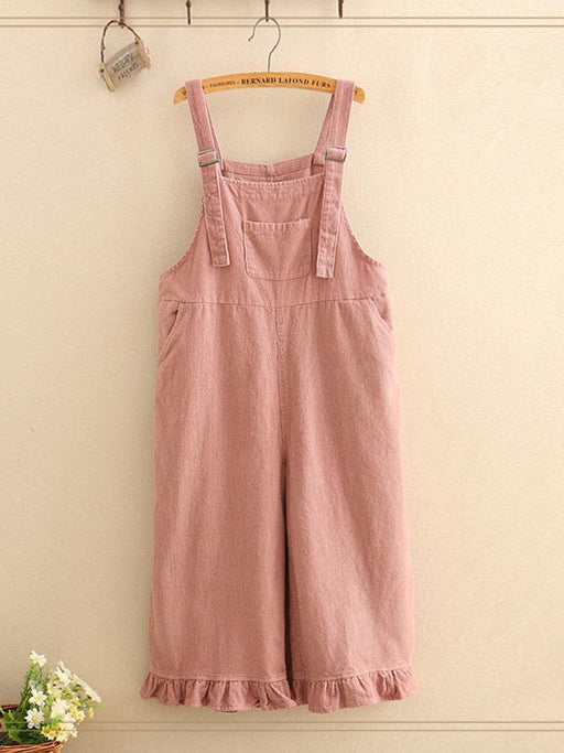 Solid Color Stringy Selvedge Hem Jumpsuits