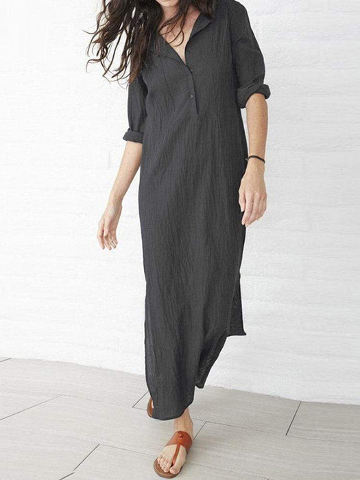 Solid Coor Side Split Maxi Dresses