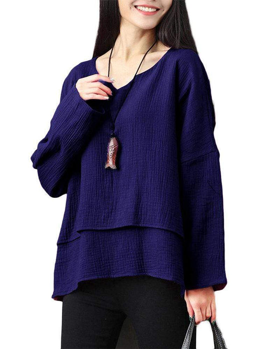 Solid Long Sleeve Layers Loose Cotton Blouse