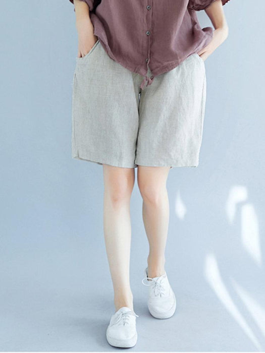 Solid Pockets Drawstring Shorts