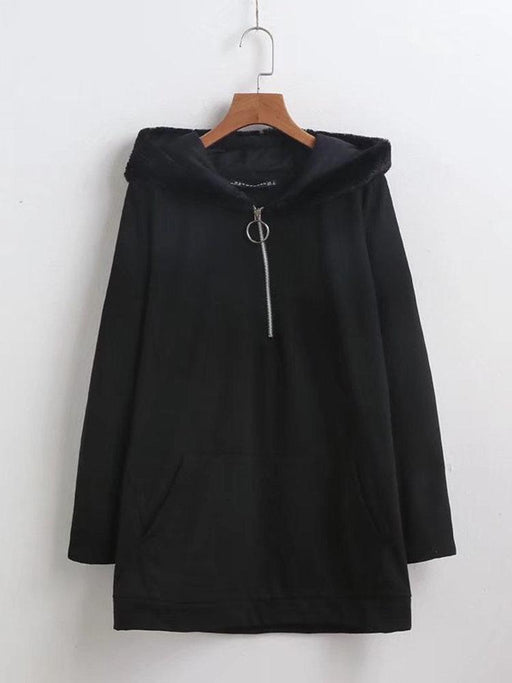 Solid Zipper Fur Hooded Loose Hoodie