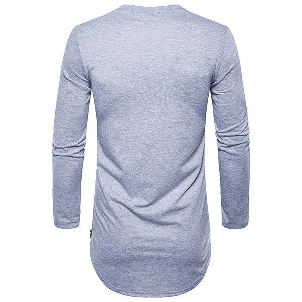 Spring Fall Brief Style Long Sleeve Casual T-Shirt For Men