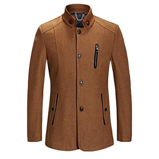 Stand Collar Woolen Coat