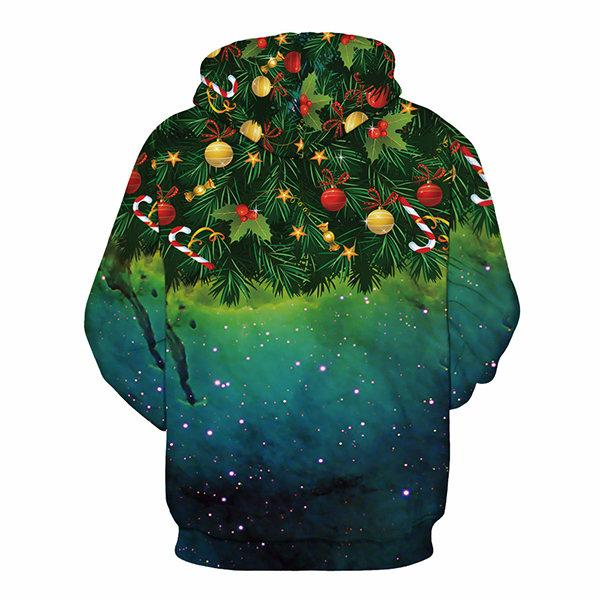 Starry Sky Christmas Tree Printing Hoodies