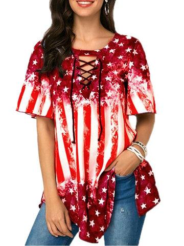 Stars Flags V-Neck Short Sleeve Blouses