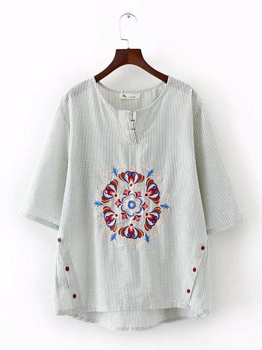 Striped Embroidery T-Shirts