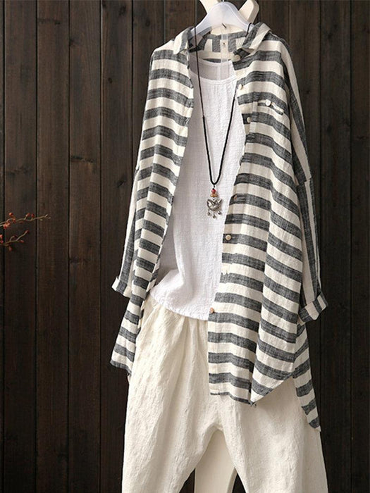 Striped Lapel Batwing Sleeve Irregular Hem Shirt