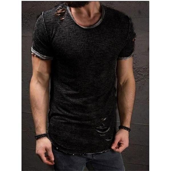 RealBigBuy T-Shirt Black / S Slim Fit Short Sleeve Hole ripped T-shirt