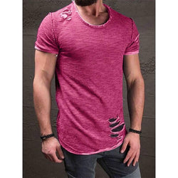 RealBigBuy T-Shirt Pink / S Slim Fit Short Sleeve Hole ripped T-shirt