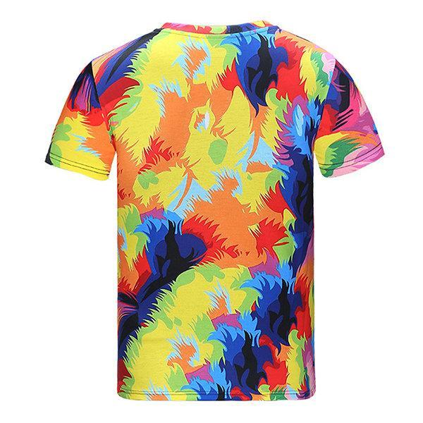 CN T-Shirts #01 / L Colorful Lion Round Neck Short sleeve T-shirt