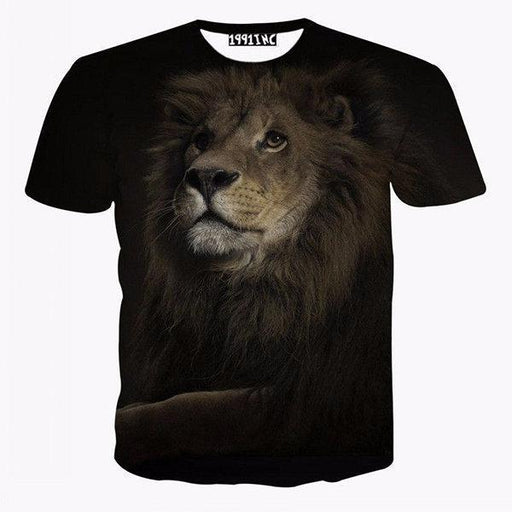 CN T-Shirts Black / L Lion Printed Casual T Shirt