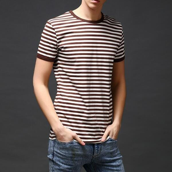 CN T-Shirts Blue / L Slim Fit Sailor's Striped Shirt Half-Sleeved T-shirt