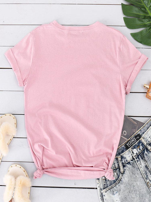CN T-Shirts Pink / S Casual  Printed Short Sleeve T-shirts