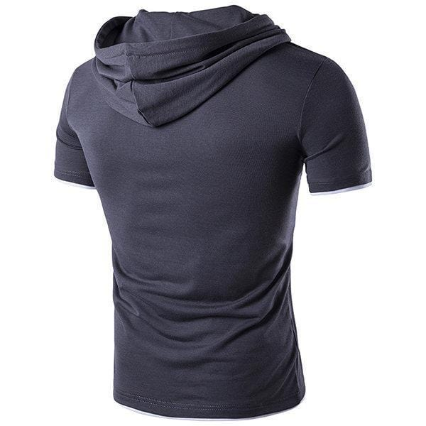 CN T-Shirts Red / M Mens Hooded Drawstring T-shirt Solid Color Short Sleeve Spring Summer Casual Tops Tees