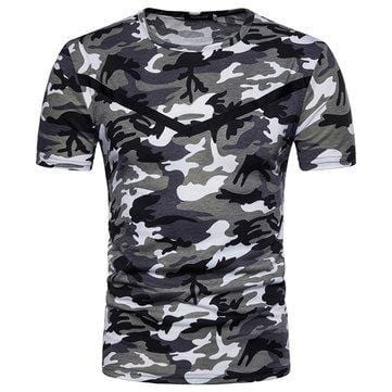 CN T-Shirts Red / M Mens Summer Camo Casual T Shirts