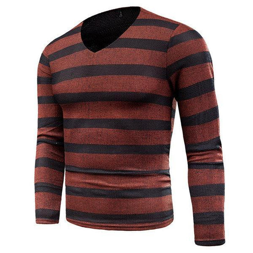CN T-Shirts Red / XL Breathable Stripes Casual Knitted T-shirt