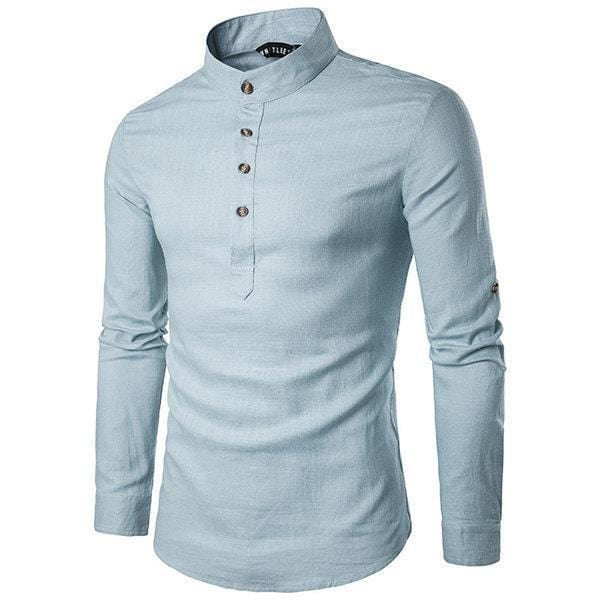 CN T-Shirts White / M Mens Linen Chinese Collar T-shirt Buttons Breathable Long Sleeve Brief Retro Style Solid Color Tops
