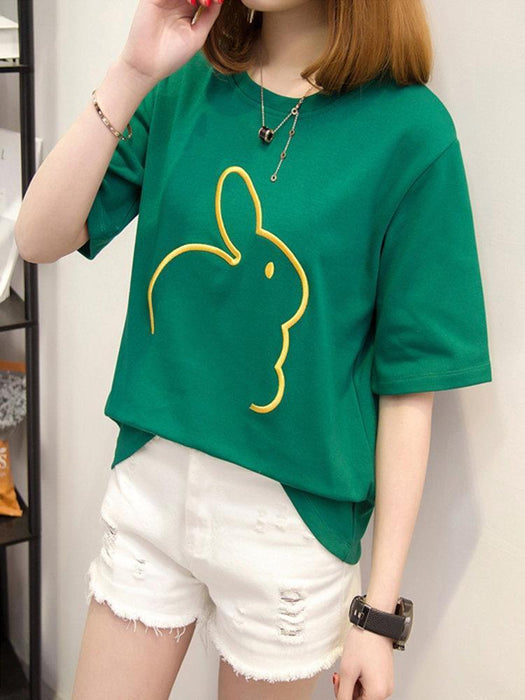 CN T-Shirts White / S Rabbit Embroidered Casual T-shirts