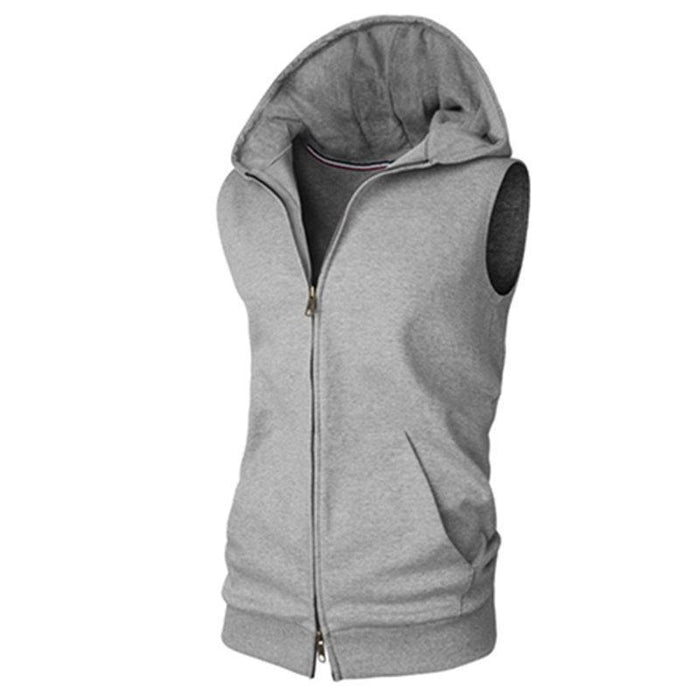 CN Tank Tops Gray / M Hooded Sleeveless Zip Up Casual Tank Tops