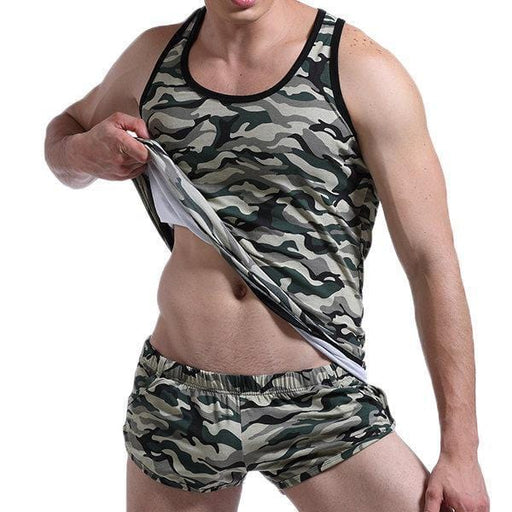 CN Tank Tops Yellow / L Mens Fitness Training Slim Fit Colorful Camo Printed Sport Elastic Nylon Quick Dry Tank Tops