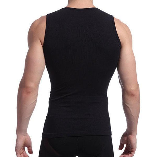CN Tops Black / M Mens Sexy High Elastic Body Sculpting Waist Tummy Tuck Skinny Fit Sport Tank Tops