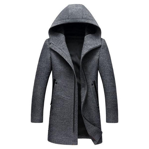 CN Trench Coat Black / L Mens Wool Zip Hooded Trench Coat