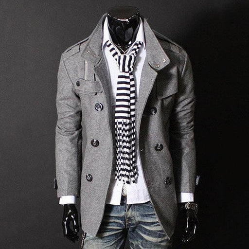 CN Trench Coat Grey / L Mens Double Breasted Stand Collar Trench Coat