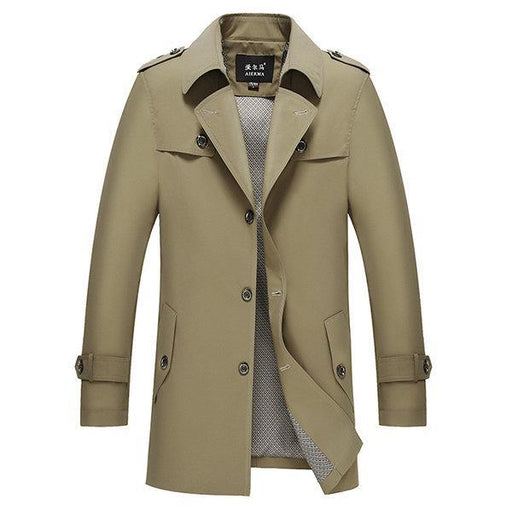 CN Trench Coat Khaki / L Business Casual Single-breasted Trench Coat for Men