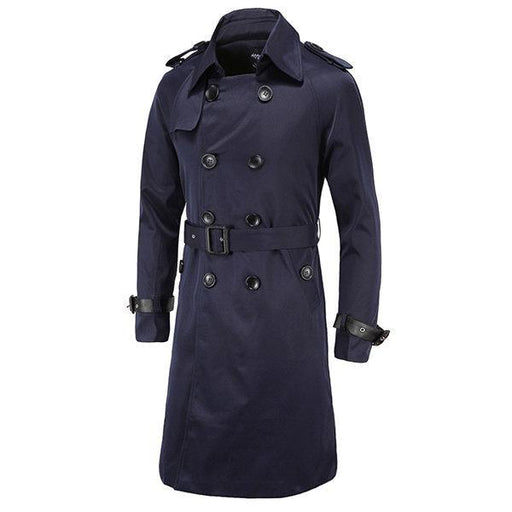 CN Trench Coat Wine Red / L Double-breasted Slim Fit Trench Coat for Men