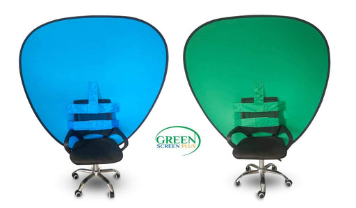 V-Shaped 2 in 1 Collapsible Blue and Green Screen Backdrop Background For Chair By GreenScreenPlus