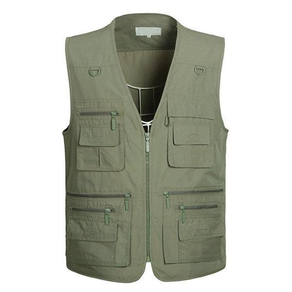 CN Vests Beige / XL Mens Multi Pockets Vest