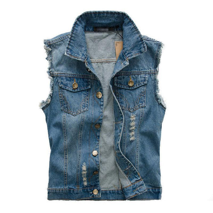 CN Vests Blue / 2XL Chest Pockets Slim Denim Vest