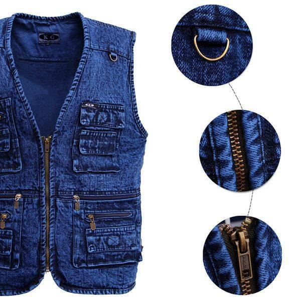 CN Vests Blue / XL Mens Denim Functional Pockets Vest