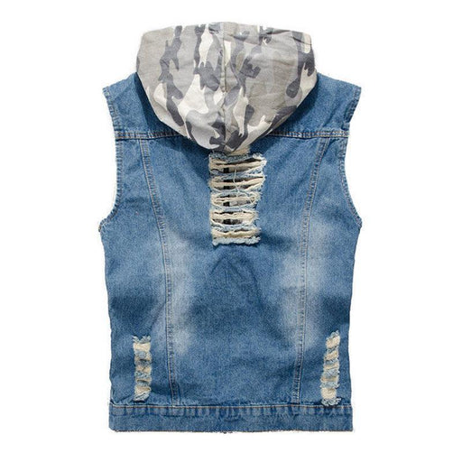 CN Vests Light Blue / 2XL Men Denim Hoody Vest