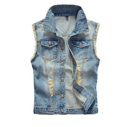 CN Vests Light Blue / L Large Size Mens Denim Vest Vintage Sleeveless Ripped washed jeans waistcoats