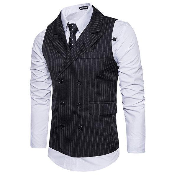 CN Vests White / L Business Double Breasted Waistcoat
