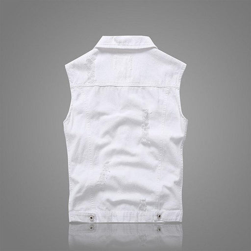 CN Vests White / L Casual Holes Pocket White Denim Vests