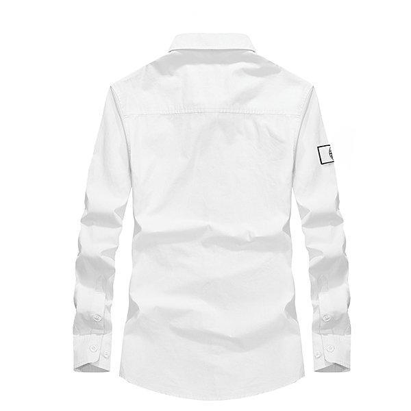 CN White / L Solid Color Cotton Work Shirts