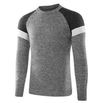 CN White / M Mens Knitted Hit Color Cotton Sweaters