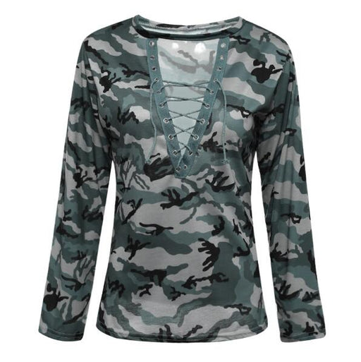 women Camouflage Long Sleeve Top