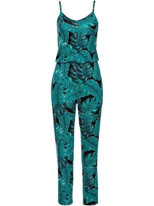 Women Casual Printed V-Neck Beach Jumpsuits