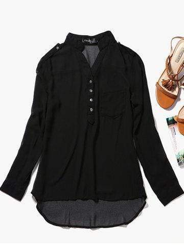 Women Chiffon V-Neck Long Sleeve Shirt