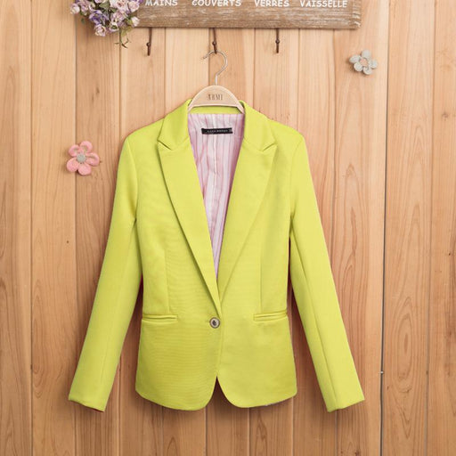 Women's Candy Color One Button Slim Long-Sleeved Blazer
