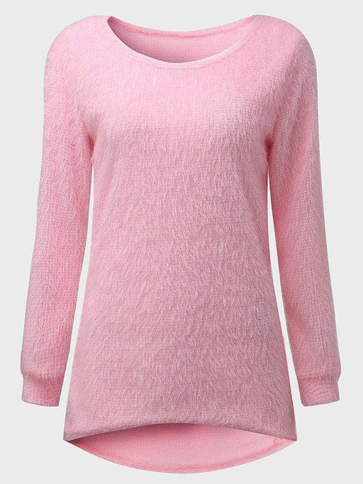 Women's Casual Fashion Pure Color Round Neck Sweatshirt