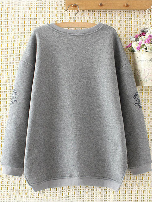 Women's Casual Irregular Hem Fluff Sweatshirts