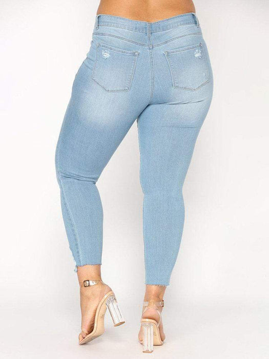 Women's Casual Pure Color Ripped Pockets Denim Pants