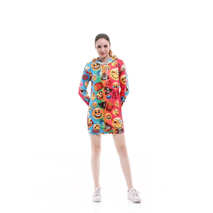 Women's Colorful Emoji Printed Hooded Sweatshirt Dress