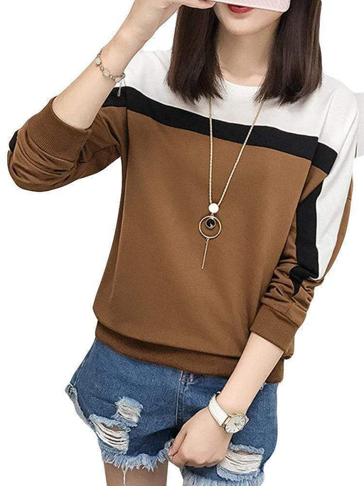 Women's Contrast Color Loose Casual T-Shirts