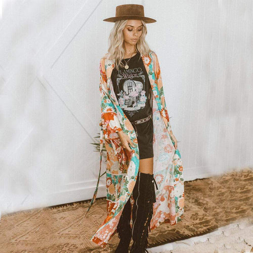 Women's Europe and the United States 2020 spring and summer women' bikini street shoot wind flower print chiffon sunscreen shirt cardigan and uniform