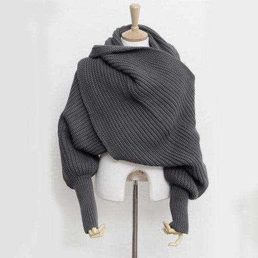 Women's Warm Knitted Solid Scarves With Sleeves